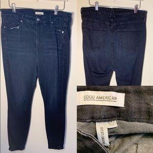 Good American Dark Wash Good Legs Skinny Stretchy High Waisted Jeans 18